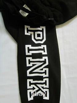 Victoria Secret Pink BLACK FULL ZIP HOODIE SWEAT SHIRT SKINNY JOGGER PANT XL SET