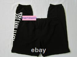 Victoria Secret Pink BLACK HOODIE JACKET SWEAT SHIRT + CLASSIC PANT COZY SET XL