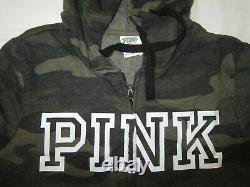 Victoria Secret Pink CAMO ARMY GREEN HOODIE LOGO SWEAT SHIRT CLASSIC PANT SET L