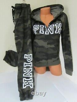 Victoria Secret Pink CAMO ARMY GREEN HOODIE LOGO SWEAT SHIRT CLASSIC PANT SET M