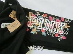 Victoria Secret Pink FLORAL PULLOVER HOODIE SWEAT SHIRT BLACK LEGGING PANT L SET
