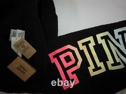 Victoria Secret Pink RAINBOW BLACK PULLOVER HOODIE SWEATSHIRT JOGGER PANT XL SET