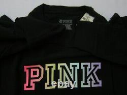 Victoria Secret Pink RAINBOW OMBRE CAMPUS TEE T SHIRT BOYFRIEND SWEAT PANT L SET