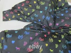 Victoria Secret Pink RAINBOW PUFFER HOODIE JACKET SWEAT SHIRT COAT WINBREAKER M