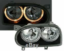 Vw Golf Mk3 Black Angel Eye Headlights Headlamps 1991-1997 Christmas Gift Bgag3