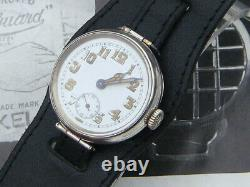 WW1 c1917 military silver trench watch articulated lugs full service Xmas gift
