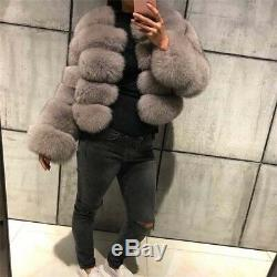 Women Christmas Gift Full Pelt Real Vulpes Fox Fur Coat Overcoat Outerwear