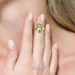 Women Gift 18Kt Yellow Gold Musical Note Midi Ring 0.25Ct Pave Diamond Jewelry