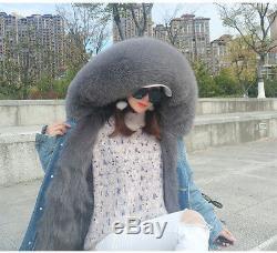 Women Real Fox Fur Collar Hood Coat Fox Lining Denim Jacket Parka-Christmas Gift