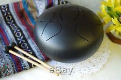 WuYou 9in Steel Tongue Drum Handpan drum Chakra drum, Great Christmas Gift, Black