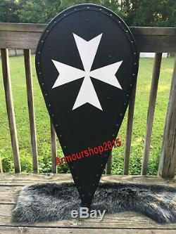 X-MAS GIFT Wood & Metal MEDIEVAL Kite Shield Knight Templar Shield