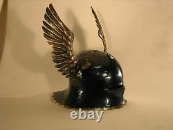 X-Mas Medieval German Sallet Helmet European Close Helmet With Metal Horns Gift